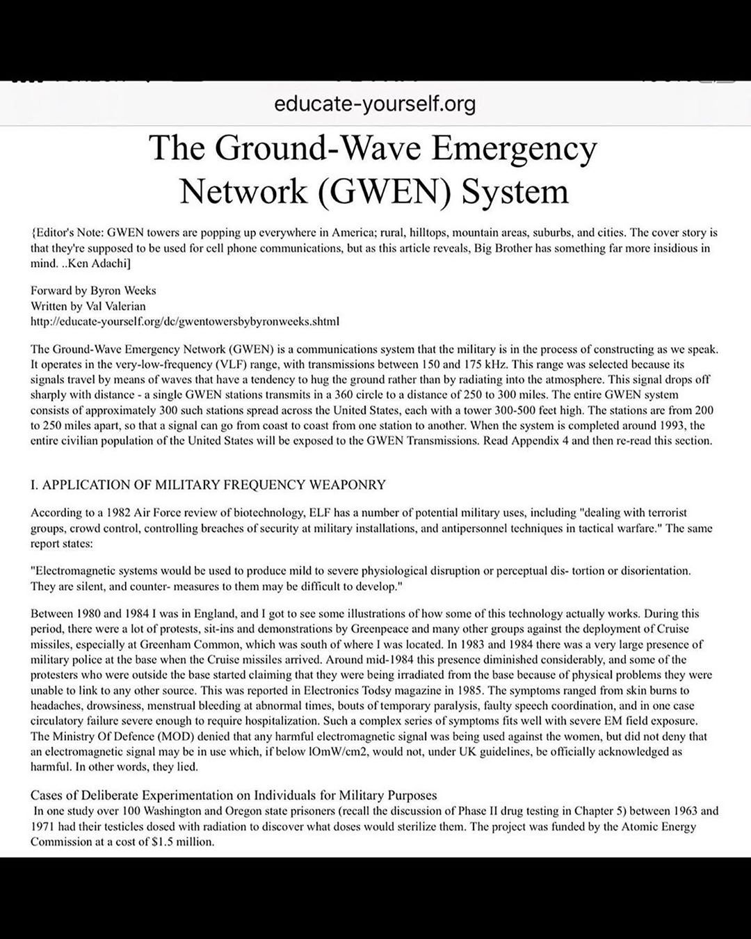Military Deploys 'GWEN System' Frequency Towers Across US, For Future Use Of 'crowd control' Report States