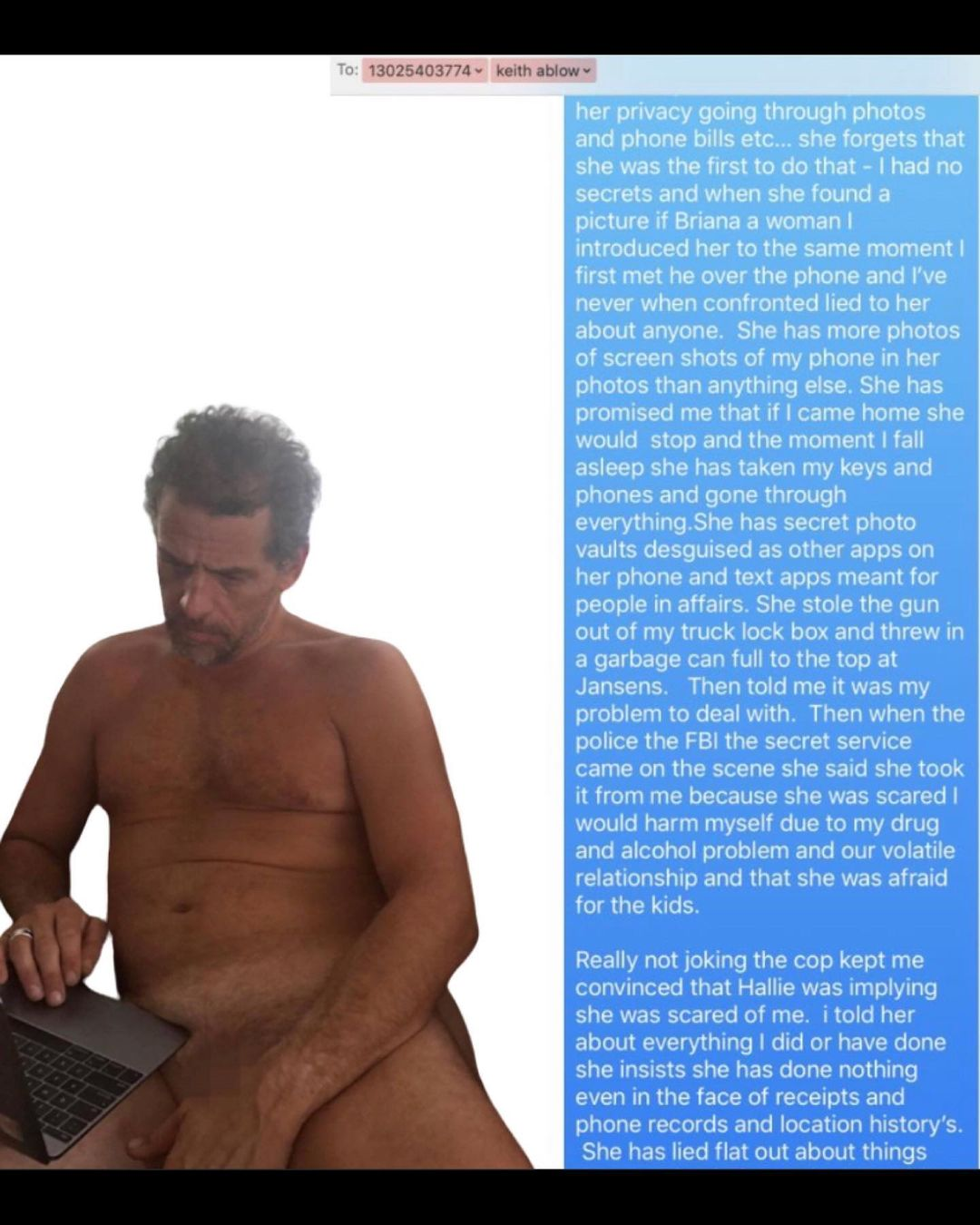 """BREAKING: Hunter Biden Text Messages Show """"sexually inappropriate with Natalie... I'll walk around naked smoking crack"""""""